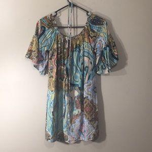 UMGEE tunic dress with flair sleeve, swirl